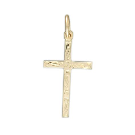 9ct gold engraved cross necklace