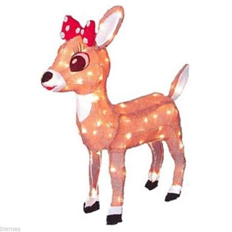 24 quot lighted tinsel rudolph clarice reindeer outdoor