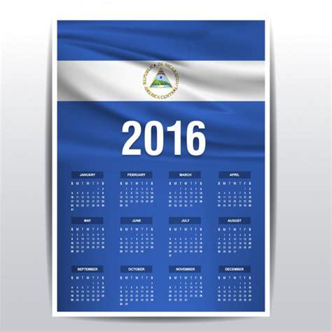 Calendario 2018 Nicaragua Calendario De Nicaragua De 2016 Descargar Vectores Gratis