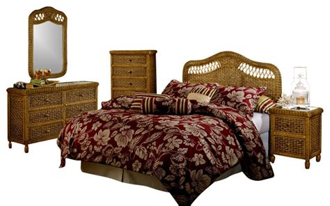 west indies bedroom furniture west indies tropical rattan and wicker 5 piece bedroom
