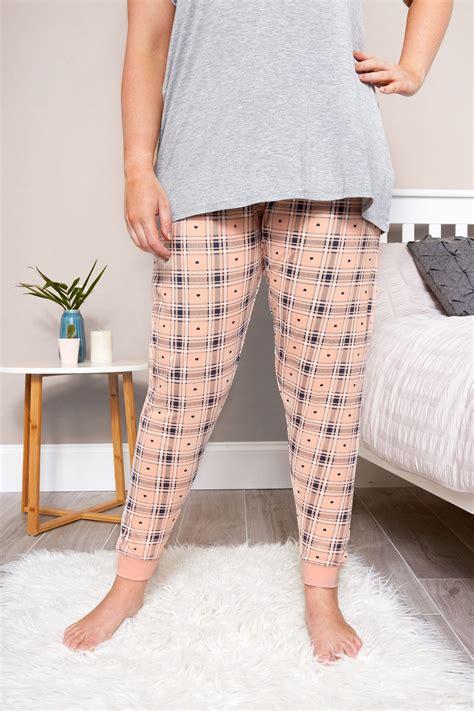 Text Decoration Italic by Plus Size Check Print Pyjama Bottoms Sizes
