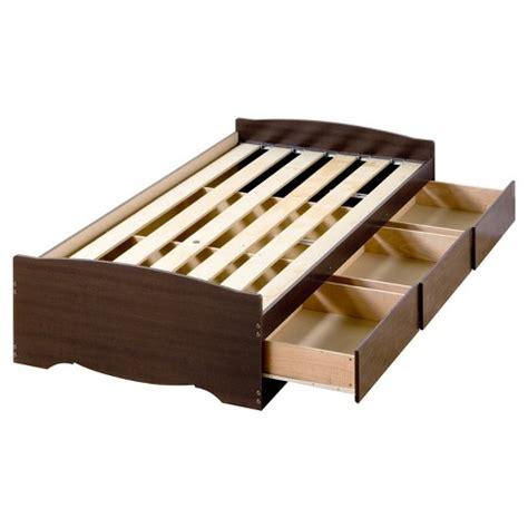 drawer platform storage bed twin xl espresso