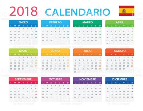 Calendario 2018 Español Calendario 2018 Versi 243 N En Espa 241 Ol Arte Vectorial De