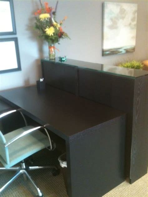 Ikea Reception Desk Ideas Malm Desk And Billy Bookcase As Reception Desk View 1 Ikea Hacks Receptions