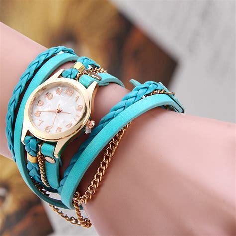 Jam Tangan Perempuan Hitam perempuan menenun selendang gelang jam tangan kulit hitam lazada indonesia