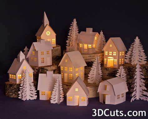 Gambrel Roof House tutorial tea light village church 3dcuts com