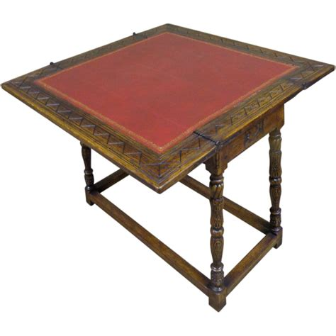 Oblong Table Antique Spanish Oak Folding Game Table Sold On Ruby Lane