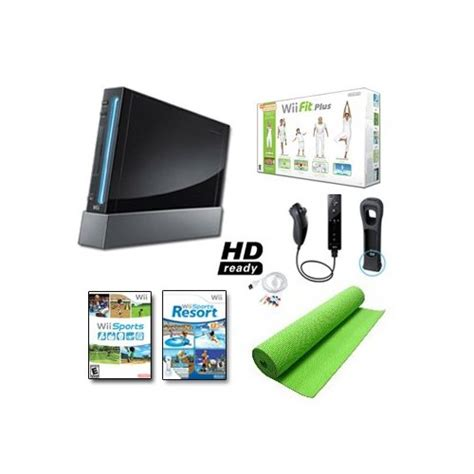 nintendo wii console bundle with wii fit plus pack nintendo wii black system wii fit plus balance board mat