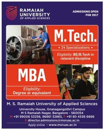 Mba Or Mtech by Ramaiah Of Applied Sciences Mtech And Mba
