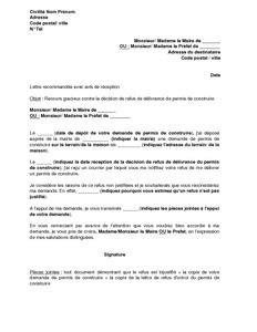 Exemple gratuit de Lettre recours contre refus octroi un