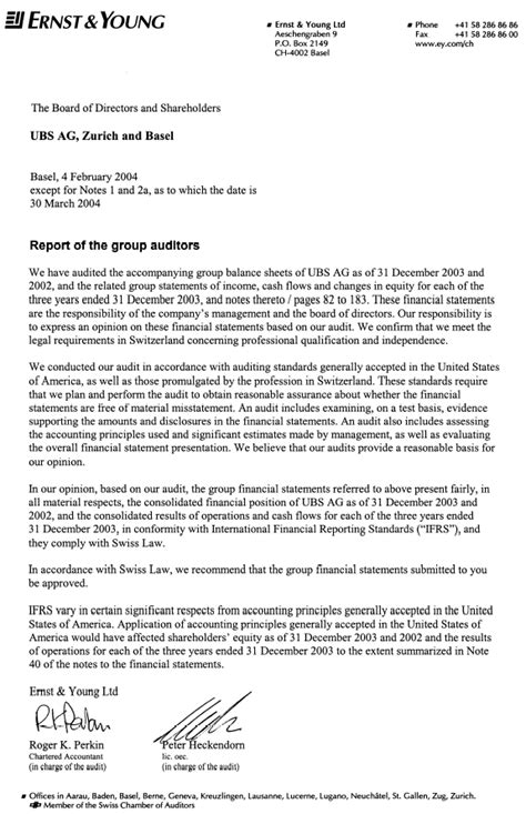 Ubs Credit Letter Ernst And Letter