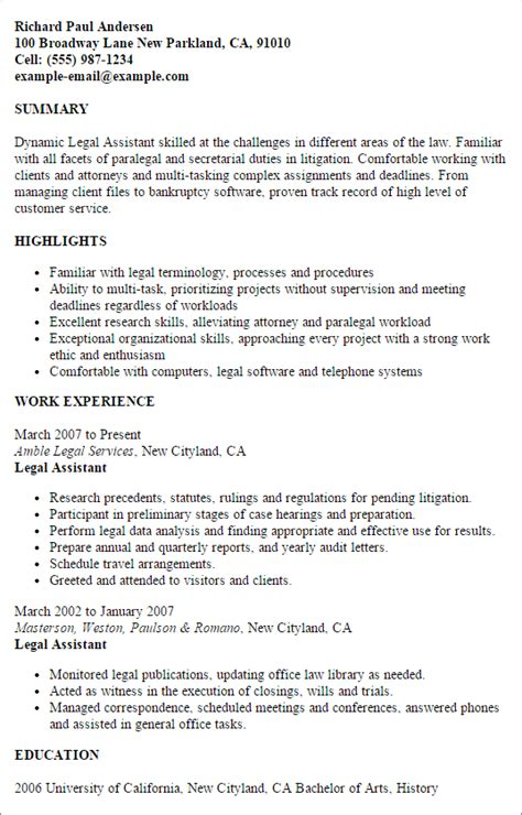 Job Description Of Secretary For Resume by Professional Legal Assistant Templates To Showcase Your