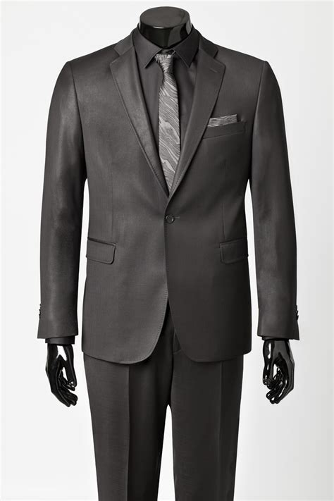 black suit and shirt with charcoal grey tie and