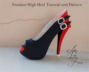 high heel fondant shoe template pdf tutorial and pattern fondant high heel sugar shoe