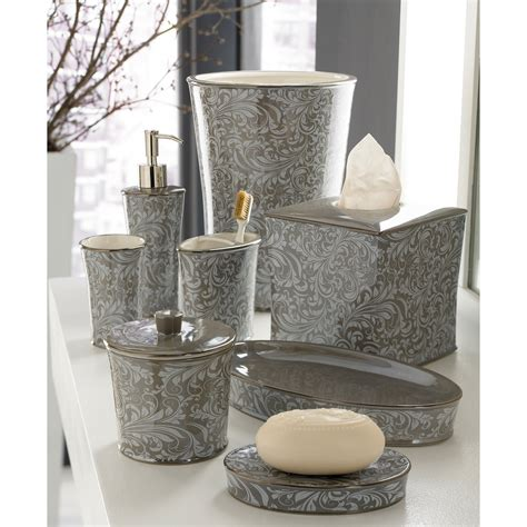 Grey Bathroom Accessories Set Kassatex Bedminister Scroll Bathroom Accessories Flint Gray At Hayneedle
