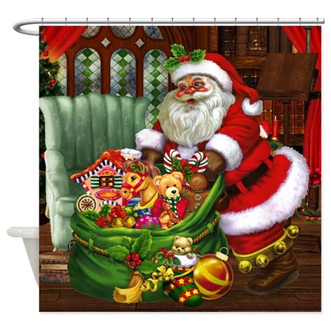 santa claus shower curtain santa claus shower curtain by gatterwe