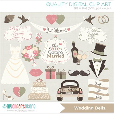 Wedding Clipart Just Married by Clipart Wedding Bells Just Married Vintage