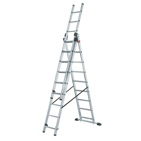 3 Section Ladder by Hailo 7312 001 Profistep Combi 3 Section Aluminium