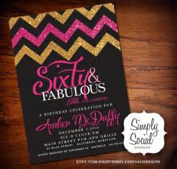 glitter glam 60th birthday invitation with gold glitter and pink chevron