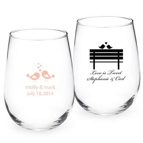 wedding favors wine glasses birds personalized stemless wine glass personalized