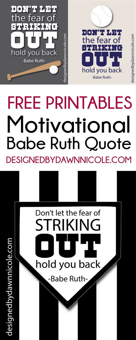 printable softball quotes free printable motivational babe ruth quote bedrooms