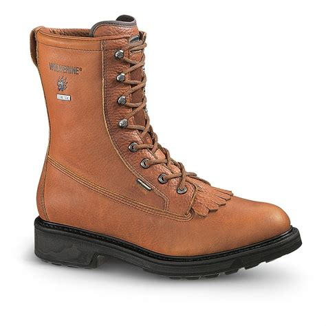 wolverine steel toe boots s wolverine 174 tex 174 steel toe lacer boots brown