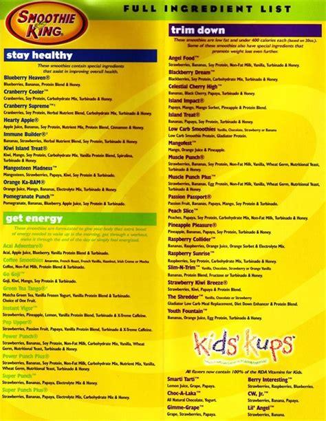 Smoothie Detox Diet Menu by 100 Smoothie King Recipes On Juice Plus Detox