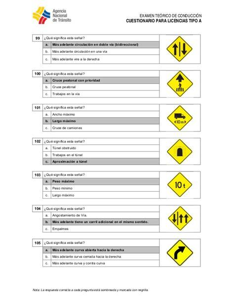 preguntas de ant tipo c ant preguntas para licencia tipo a
