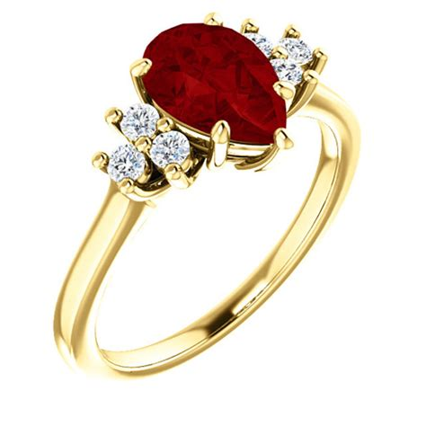 Ruby 9 6ct 14k yellow gold 1 6ct pear chatham created ruby 1 8 ct
