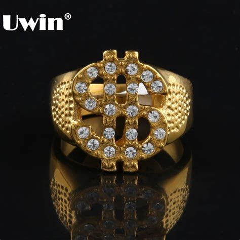 Bling Ring From Accessorize by Gold Color Stainless Steel Dollar Sign Ring Hiphop Rock