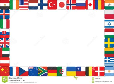 flags of the world page border frame made of world flag icons stock vector illustration