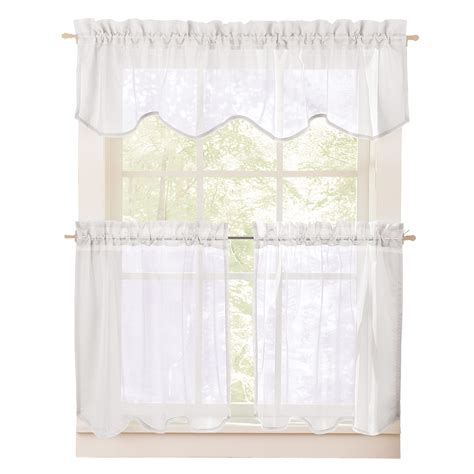 curtain tier sets sheer curtain valance and tier set ebay