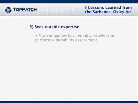 5 Lessons Learned Companies 5 lessons learned from the sarbanes oxley act