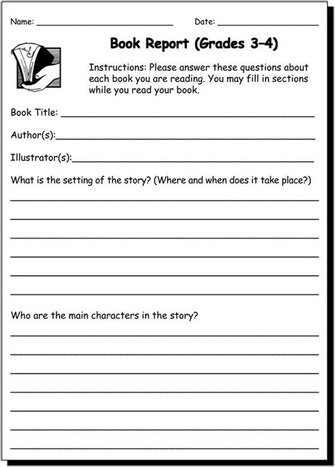 book report worksheet 5th grade book report 3 4 practice writing worksheet for 3rd and