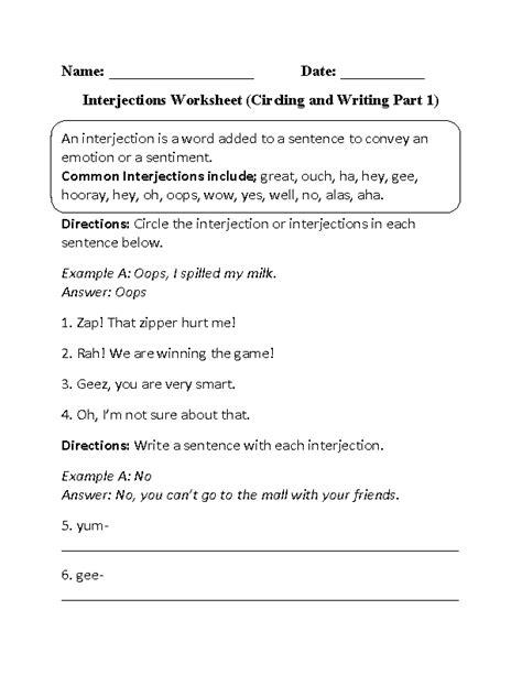 Englishlinx.com | Interjections Worksheets