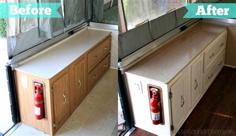 How To Redo Kitchen Cabinets On A Budget by Pop Up Camper Remodel The Countertops