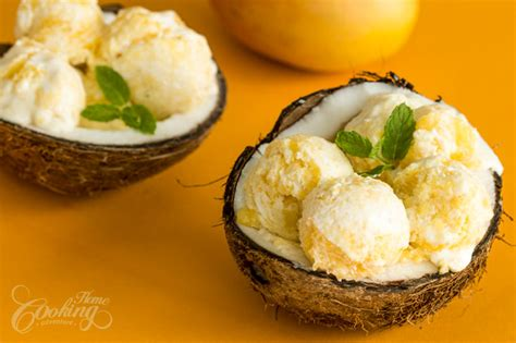 coconut mango ice cream home cooking adventure