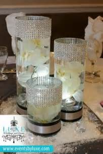black and silver wedding centerpieces wedding on cylinder centerpieces white damask