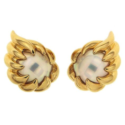 mabe pearl gold fireball earrings for sale at 1stdibs