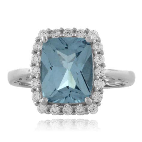 aquamarine emerald cut sterling silver ring silverbestbuy