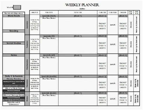 check out my weekly lesson planning page templates for