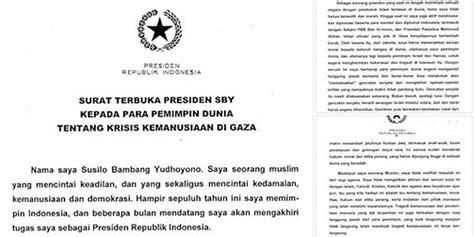 surat presiden sby untuk seluruh pemimpin dunia terkait gaza sona