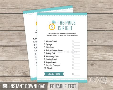 printable price is right bridal shower game printable price is right name tags images