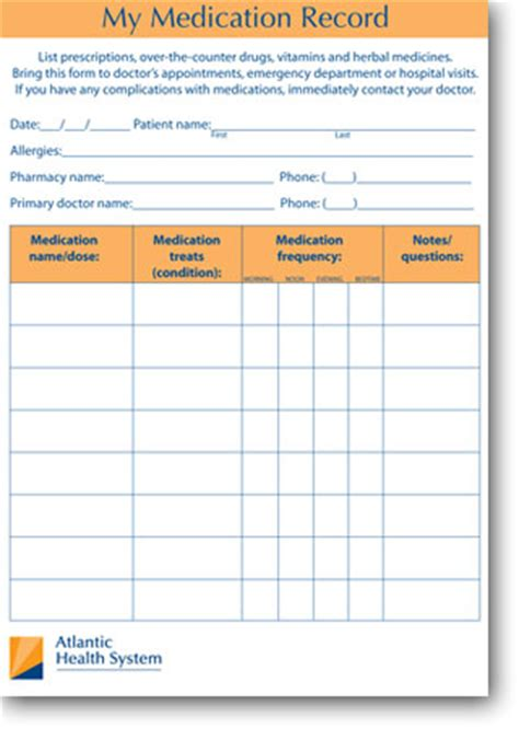 medication list card template my medication record atlantic health