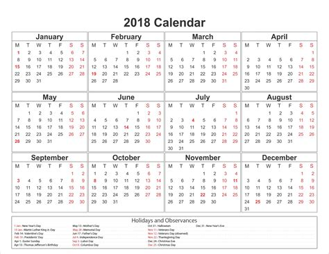 printable calendar with holidays printable calendar 2018 with holidays flogfolioweekly com