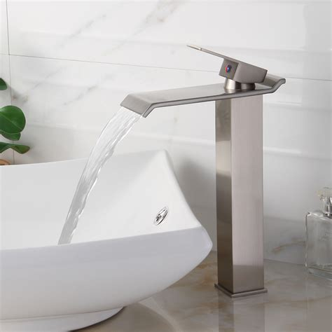 vessel sink faucet placement elite 8818bn brushed nickel finish waterfall design single