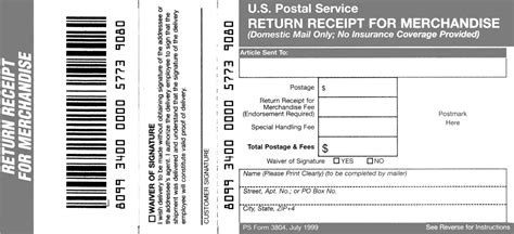 Domestic Mail Manual S917 Return Receipt For Merchandise Merchandise Return Label Template