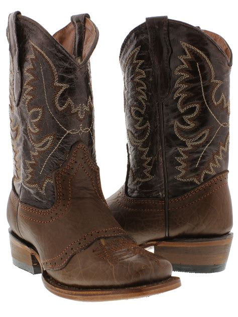 boys cowboy boots boys youth cognac brown real leather casual western