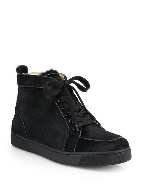 black louboutin sneakers lyst christian louboutin rantus orlato calf hair