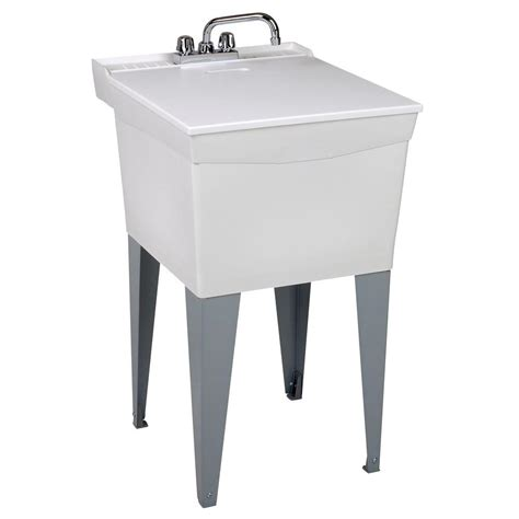 Mustee 20 In X 24 In Plastic Floor Mount Laundry Tub